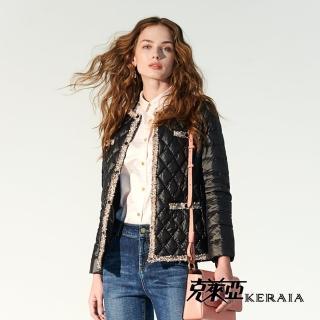 【KERAIA 克萊亞】小名媛花紗織條羽絨外套