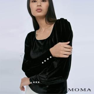 【MOMA】輕奢天鵝絨方領上衣(黑色)/