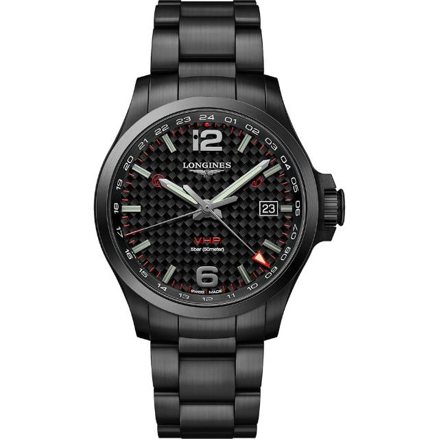 【LONGINES 浪琴】Conquest V.H.P. GMT Flash Setting 黑/43mm(L37282666)