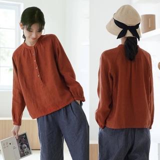 【設計所在】9支砂洗亞麻環保染古鐵鏽紅襯衫寬鬆長袖上衣