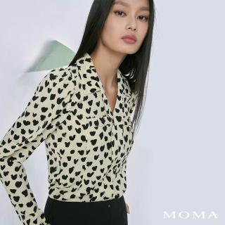 【MOMA】豹紋愛心造型袖上衣(白色)/