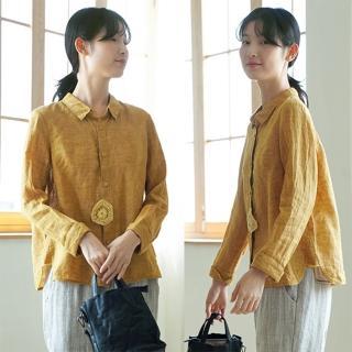 【設計所在】42支經緯色織亞麻花黃色襯衫設計感長袖上衣
