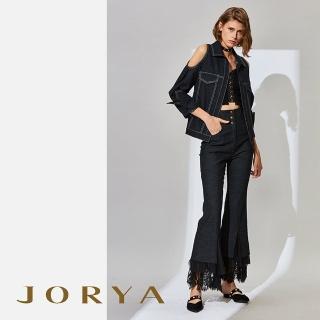 【JORYA】K1003201露肩寬袖綁帶收腰質感牛仔上衣外套/