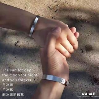 【JA-ME】999千足銀磨砂朝朝暮暮情侶對鐲(2入)