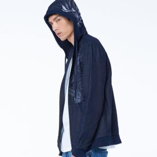 【BLUE WAY】類針織定位大緹花連帽外套-鬼洗