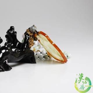 【漢石齋】天然A貨 滿綠帶紅翡 雙面巧雕翡翠牌(68*52*4mm)