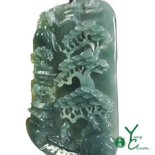 【YC 寶石】A貨翡翠冰藍水料帶黃翡枯木逢春大型項鍊(Q048)