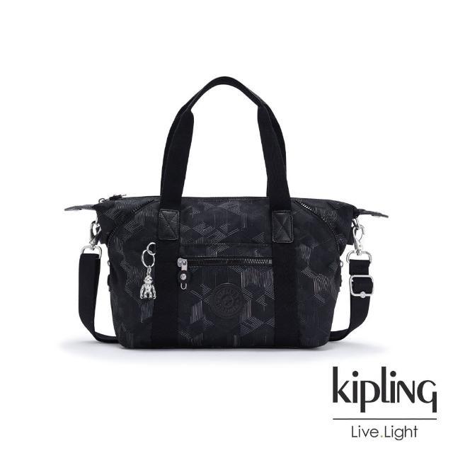 【KIPLING】幾何圖騰黑手提側背包-ART