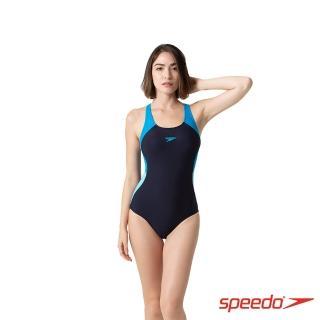 【SPEEDO】女 運動連身泳裝 Colourblock Splice(海軍藍/波光藍)