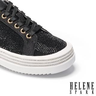 【HELENE SPARK】時髦率性晶鑽閃耀厚底休閒鞋(黑)