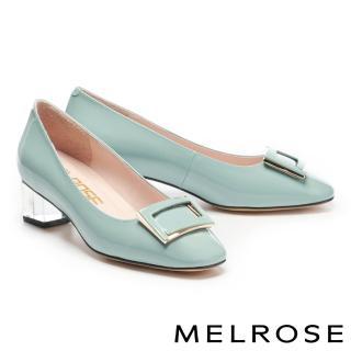 【MELROSE】經典時髦鏡面烤漆方釦透明粗低跟鞋(綠)/