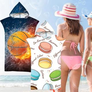 【EZlife】時尚印花連帽沙灘毛巾衣