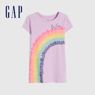 【GAP】女童 創意印花透氣圓領T恤(791357-淺紫色)