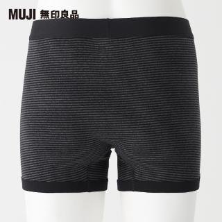 【MUJI 無印良品】男有機棉針織前開拳擊內褲(墨灰橫紋)