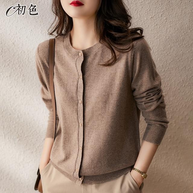 【初色】簡約氣質針織開衫外套-共6色-98491(F可選/現貨+預購)/