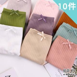 【enac 依奈川】慵懶少女風抑菌雙層棉質內褲(超值10組-隨機)