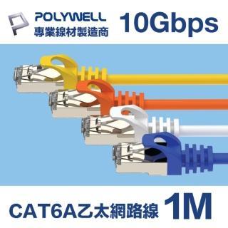 【POLYWELL】CAT6A 高速乙太網路線 S/ FTP 10Gbps 1M(適合2.5G/ 5G/ 10G網卡 網路交換器 NAS伺服器)