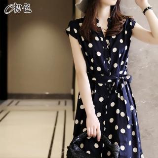 【初色】日系波點印花雪紡洋裝-藏藍色-98605(M-2XL可選)