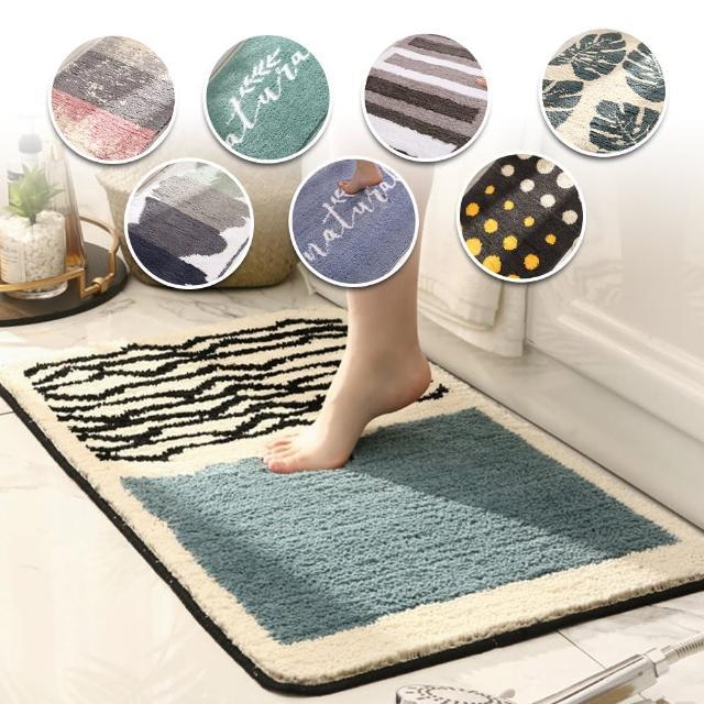 【西格傢飾】北歐系加厚吸水防滑廚房浴室地墊(植絨/止滑/TPR/玄關地墊)/