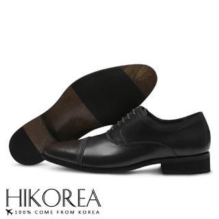 【HIKOREA】韓國空運/版型正常。男款簡約素面壓紋皮革拼接綁帶尖頭紳士皮鞋(73-348二色/現+預)