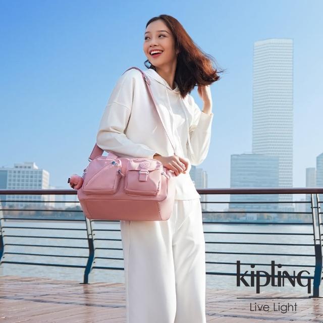 【KIPLING】質感黑簡約方形手提斜背包-TADEO/