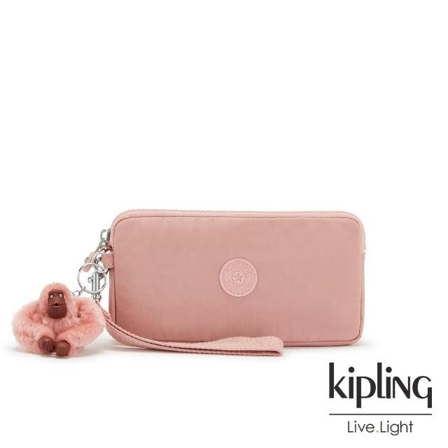 【KIPLING】個性霧灰藍三夾層配件包-CREATIVITY