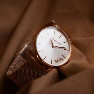 【COACH】原廠平行輸入 經典馬車玫瑰金系 白面 米蘭錶帶(CO14503126)