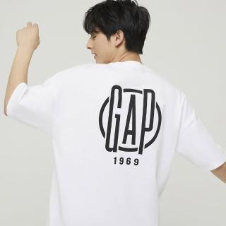 【GAP】男女同款 Logo純棉圓領短袖T恤(977804-白色)