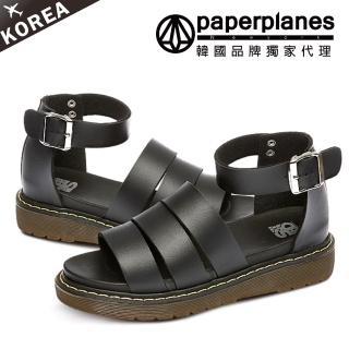 【Paperplanes】正韓製。霧面金屬皮革三線寬帶顯瘦鏤空厚底涼鞋(7-227三色/現+預)