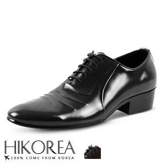【HIKOREA】韓國空運/版型正常。男款仿舊凸紋亮面皮革綁帶紳士皮鞋(73-388共2色/現貨+預購)