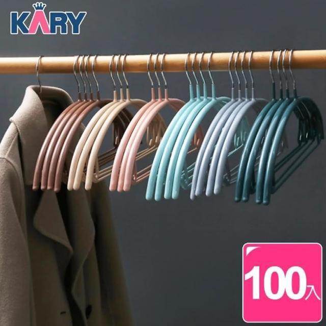 【KARY】十年耐用高質感加厚多功能浸膠防滑無痕毛衣衣架(大組數-超值100入組)/