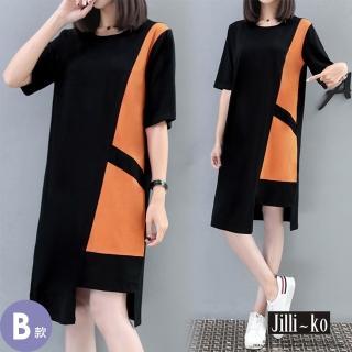 【JILLI-KO】不規則織帶壓褶拼接連衣裙-M/L/XL(多款任選)