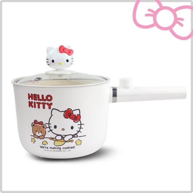 【HELLO KITTY】多功能烹飪1.6L個人安全電快煮/保溫 陶瓷釉不沾鍋 附造型鍋蓋(KT-EP01)