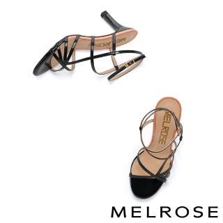 【MELROSE】極簡時尚細帶跳色高跟涼鞋(黑)