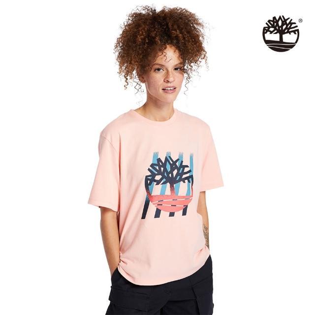 【Timberland】女款蜜桃粉漸層樹型LOGO寬鬆T恤(A2FYCBC3)/