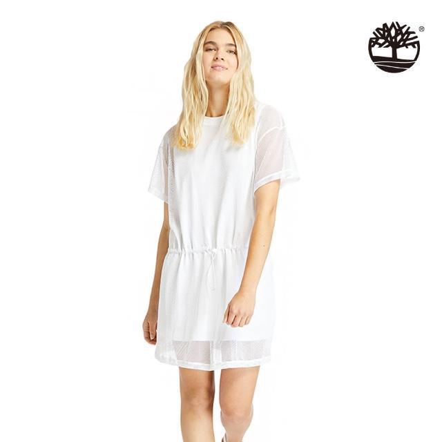 【Timberland】女款白色背部LOGO網眼層連衣裙(A2CS8100)/