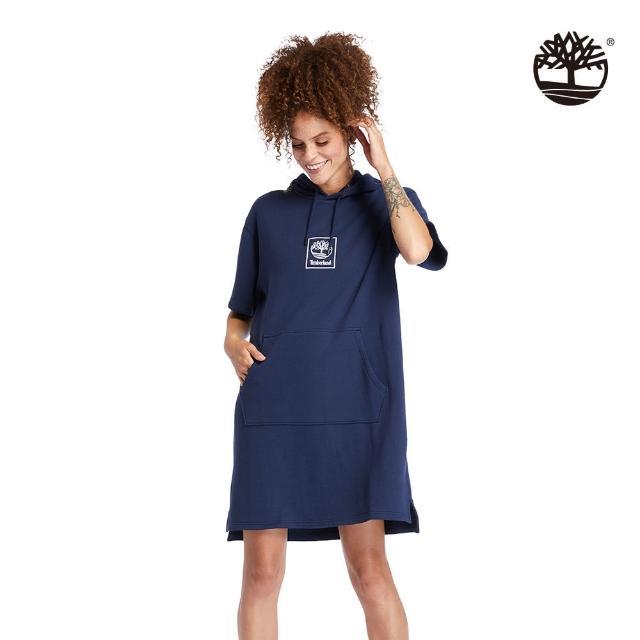【Timberland】女款海軍藍連帽短袖連衣裙(A2FXP451)/