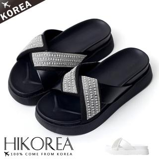 【HIKOREA】韓國空運/版型正常。居家女彾雙重舒壓交叉水鑽涼拖鞋(71-3272二色/現貨+預購)