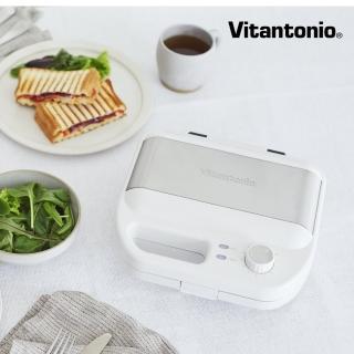 【Vitantonio】小V多功能計時鬆餅機(雪花白)+自動研磨悶蒸咖啡機(摩卡棕)