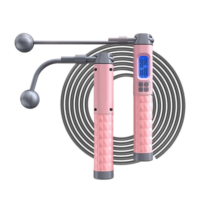 【kingkong】雙向磁控感應電子計數兩用跳繩(S90 無繩+有繩 負重可拆卸)