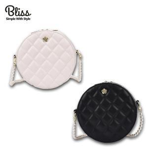 【Bliss BKK】小香風珍珠背鍊圓包 肩背包 隨身包 斜跨包(2色可選)