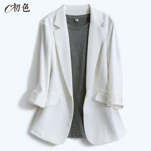 【初色】棉麻薄款西裝外套-共9款-99062.99115.99109.90054.99876.99877(M-2XL可選)