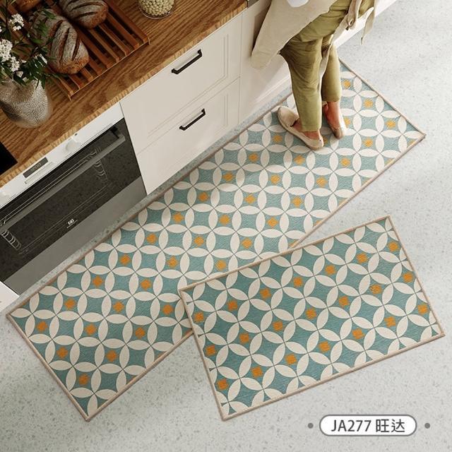 【聚時柚】2件組廚房吸水耐油腳踏墊 多尼爾印花地墊門墊地毯(多款可選)